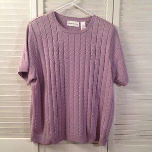 Alfred Dunner XL Lavender Short Sleeve Sweater
